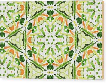 A Kaleidoscope Image Of Fresh Vegetables Wood Print by Andrew Bret Wallis