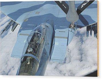 A Kc-135 Stratotanker Provides Wood Print by Stocktrek Images