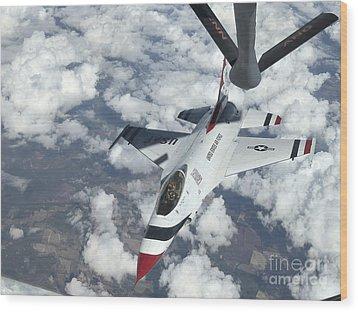 A Kc-135 Stratotanker Refuels An Air Wood Print by Stocktrek Images