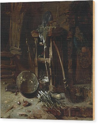 A Kitchen Corner Wood Print by Willem Kalf