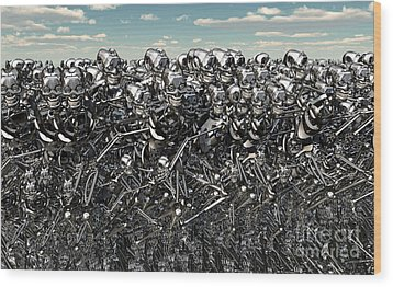 A Large Gathering Of Robots Wood Print by Mark Stevenson