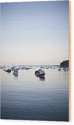 A Large Group Of Boats Float In A Maine Wood Print by Hannele Lahti