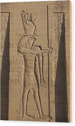 A Large Relief Of The God Horus Wood Print by Taylor S. Kennedy