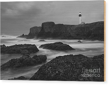 A Light In The Storm Wood Print by Keith Kapple