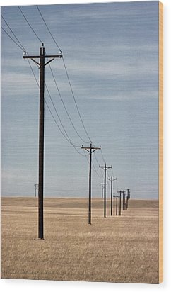 A Line Of Telephone Poles Travels Wood Print by George Grall