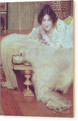 A Listener - The Bear Rug Wood Print by Sir Lawrence Alma-Tadema