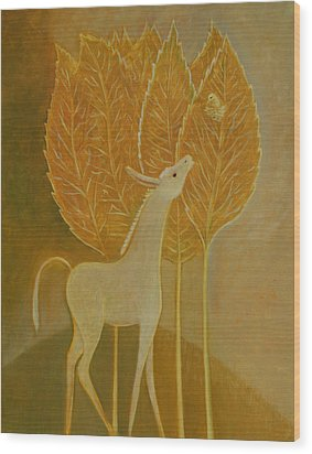 Wood Print featuring the painting A Little Golden Song by Tone Aanderaa