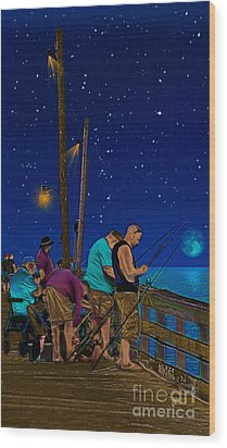 A Little Night Fishing At The Rodanthe Pier Wood Print by Anne Kitzman