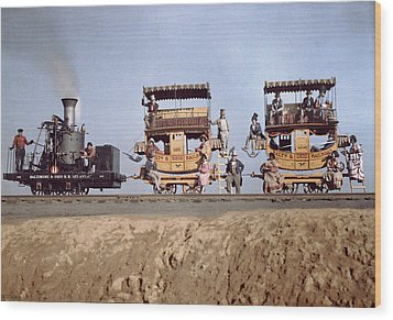 A Locomotive And Two Coaches Wood Print by Charles Martin