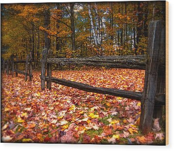 A Log Fence In A Carpet Of Fall Leaves Wood Print by Chantal PhotoPix