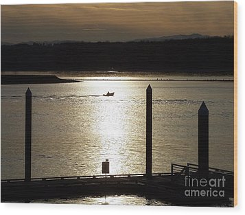 Wood Print featuring the photograph A Lone Boat At Sunset by Chalet Roome-Rigdon