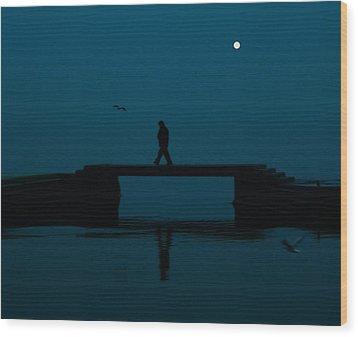 A Lone Man Wood Print by Jasna Buncic