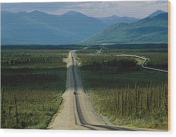 A Lone Truck Moves Down The Dalton Wood Print by Melissa Farlow
