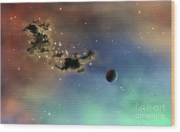 A Lonely Planet Is Lit By Two Stars Wood Print by Brian Christensen