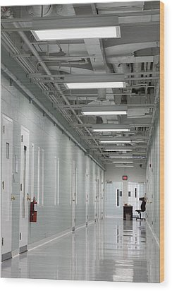 A Long Corridor In A Residential Unit Wood Print by Roberto Westbrook