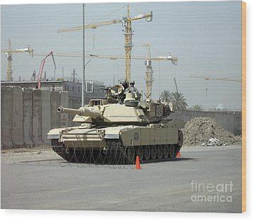 A M1 Abram Sits Out Front Of The New Wood Print by Terry Moore