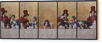 A Mad Tea-party From Alice In Wonderland Wood Print by Jose Luis Munoz Luque