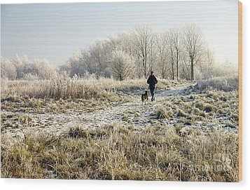 A Man And His Dog Wood Print by John Chatterley