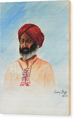 A Man From Rajsthan Wood Print by Tanmay Singh