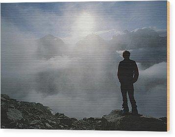 A Man In Silhouette Looking Wood Print by Gordon Wiltsie