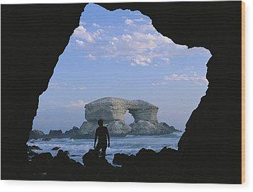 A Man Silhouetted Against La Portada Wood Print by Joel Sartore