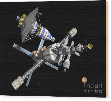 A Manned Mars Landerreturn Vehicle Wood Print by Walter Myers