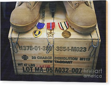 A Memorial Dedicated To An Airman Who Wood Print by Stocktrek Images