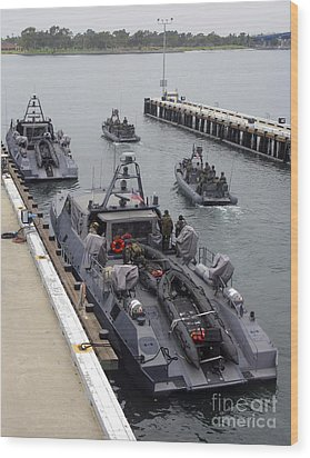 A Mk-v Special Operations Craft Tied Wood Print by Michael Wood