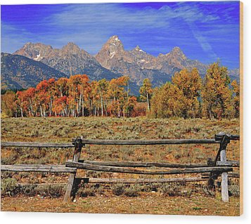 A Moment In Wyoming In Autumn Wood Print by Jeff R Clow