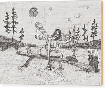 A Moment With The Moon... - Sketch Wood Print by Robert Meszaros