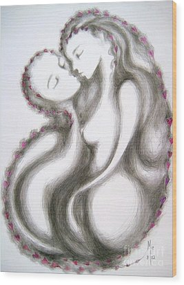 Wood Print featuring the drawing A Mother's Gratitude by Marat Essex