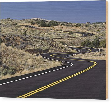 A Newly Paved Winding Road Up A Slight Wood Print by Greg Probst