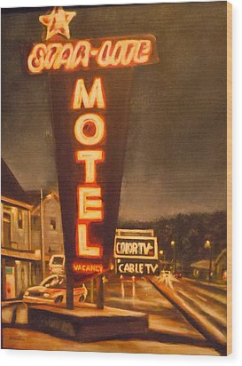 A Night At The Star-lite Motel Wood Print by James Guentner