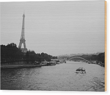 A Noir Look At The Eiffel Tower Wood Print by Chris Ann Wiggins