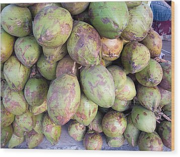 A Number Of Tender Raw Coconuts In A Pile Wood Print by Ashish Agarwal