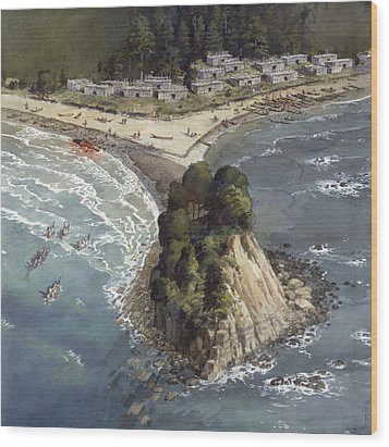 A Painting Depicts A Makah Indian Wood Print by Richard Schlecht