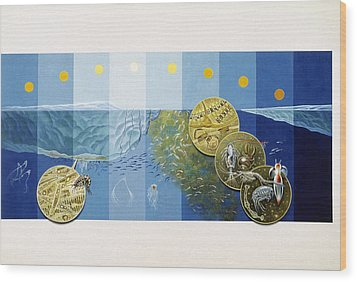 A Painting Depicts The Tiny Life Wood Print by Davis Meltzer