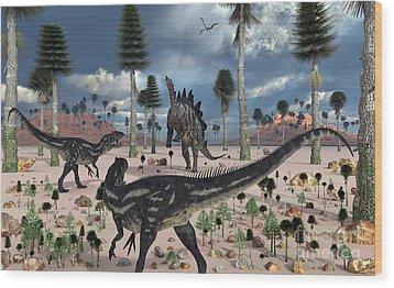 A Pair Of Allosaurus Dinosaurs Confront Wood Print by Mark Stevenson