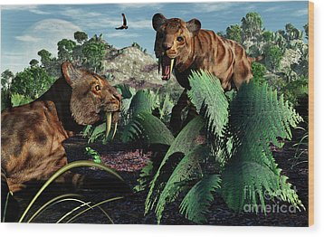 A Pair Of Sabre-toothed Tigers Wood Print by Mark Stevenson