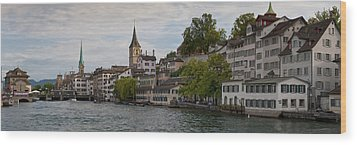 A Panorama View Of Zurich Wood Print by Greg Dale