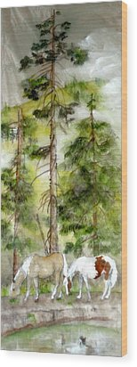 Wood Print featuring the painting A Peaceful Scene by Debbi Saccomanno Chan