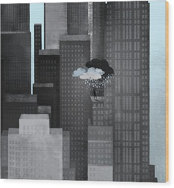 A Person On A Skyscraper Under A Storm Cloud Getting Rained On Wood Print by Jutta Kuss