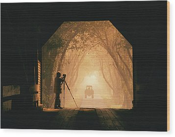 A Photographer Sets Up His Camera Wood Print by Richard Nowitz