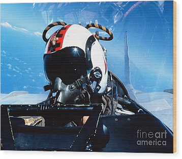 A Pilot Sitting In The Back Wood Print by Dave Baranek
