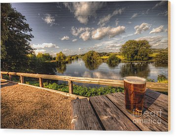 A Pint With A View  Wood Print by Rob Hawkins