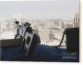 A Pk 7.62mm Machine Gun Nest On Top Wood Print by Terry Moore