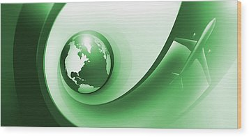 A Plane Flying Around The Earth Wood Print by Ralf Hiemisch