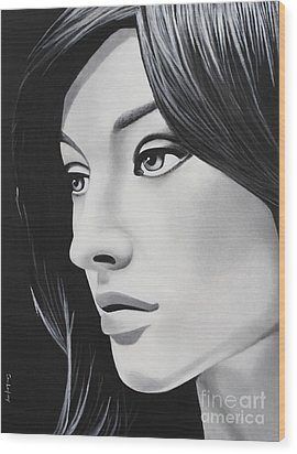 A Portrait In Black And White Wood Print by Dan Lockaby