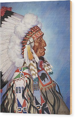 A Portrait Of 95-year Old Sioux Chief Wood Print by W. Langdon Kihn