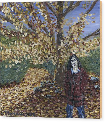 Wood Print featuring the painting A Portrait Of The Artist's Mother In Autumn by Denny Morreale